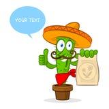 Cactus holds fertilizer package. Illustration cactus holds fertilizer package, format EPS 8 Stock Photography