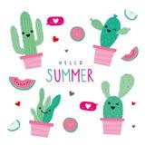 Cactus Icon Flat Design Element Plants Pot Flower Prickle Cartoon Vector Royalty Free Stock Photography