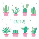 Cactus Icon Flat Design Element Plants Pot Flower Prickle Cartoon Vector Stock Image