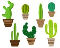 Cactus icons in a flat style on a white background. royalty free illustration