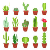 Cactus icons in a flat style on a white background. Home plants cactus in pots and with flowers. A variety of decorative Royalty Free Stock Image