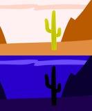 Cactus isolé de saguaro dans le désert, jour et nuit vue, vecteur Photos libres de droits