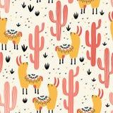 Cactus jaunes de rouge de lamas Photos libres de droits