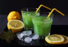 Cactus juice,  lemons and ice Royalty Free Stock Photo