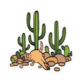 Cactus, koe scull en stenen vector illustratie