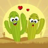 Cactus in liefde stock illustratie
