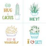 Cactus linéaires de vecteur et lettrage manuscrit Photographie stock