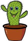 Cactus lindo de la historieta en un pote marrón ilustración del vector