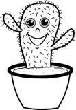 Cactus lindo de la historieta que sonríe en el ejemplo del vector del pote libre illustration