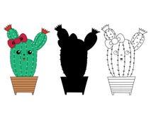 Cactus lindo plano de la historieta de la acción del vector ilustración del vector