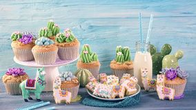 Cactus and llama sweets. For children party royalty free stock image