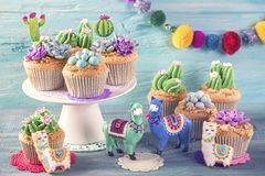 Cactus and llama sweets. For children party stock image
