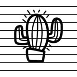 Cactus logo in cartoon images on paper. can be applied to various media either paper or plastic. This Cactus logo can also be use. D for various industries and royalty free illustration