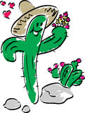 Cactus in Love. Cactus holding flowers in love Royalty Free Stock Photos