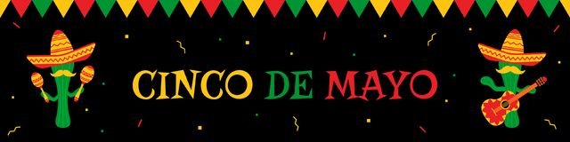Cactus mariachi and bunting cinco de mayo banner. National festival cinco de mayo web banner. Festive colors bunting, big title and cwo funny cactus mariachi in