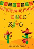 Cactus mariachi cinco de mayo party invitation. Funny cinco de mayo festival invitation poster. Festive yellow design with two cactus mariachi in sombrero with