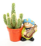 Cactus and mariachi player Royalty Free Stock Photography