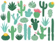 Cactus messicano ed aloe La pianta coperta di spine del deserto, cactus del Messico fiorisce e raccolta di vettore isolata piante illustrazione di stock