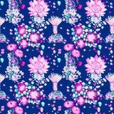 Cactus met roze bloemen, succulents, stenen, naadloos patroonontwerp op donkerblauwe achtergrond stock illustratie