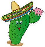 Cactus met sombrero Royalty-vrije Stock Foto's