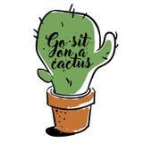 Cactus met tekst voor affiches, banners, t-shirts D ander voor het drukken geschikt ontwerp , hand-drawn vectorart. Stock Foto