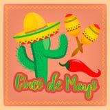 Cactus in Mexicaanse maracas van de sombrerohoed en Spaanse peperpeper als me Royalty-vrije Stock Foto