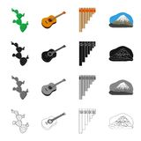 Cactus, Mexican guitar, wind instrument pan flute, mountain. Country Mexico set collection icons in cartoon black. Monochrome outline style vector symbol stock Stock Photos