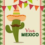 Cactus with mexican hat and mustache to celebrate event. Vector illustration vector illustration