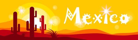 Cactus mexicano de la puesta del sol en bandera del desierto Imágenes de archivo libres de regalías