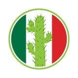 Cactus mexicano en un círculo en el fondo Fotografía de archivo libre de regalías