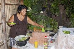 Cactus mexicano viejo de señora Cooking Prickly Pear imágenes de archivo libres de regalías