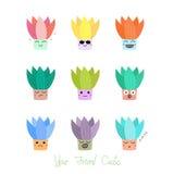 Cactus mignons avec différents visages Photos stock