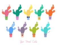 Cactus mignons avec différents visages Photo libre de droits