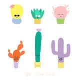 Cactus mignons avec différents visages Images libres de droits