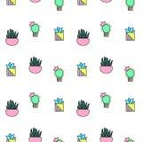 Cactus minúsculo y modelo inconsútil suculento Teja del modelo de las plantas verdes stock de ilustración