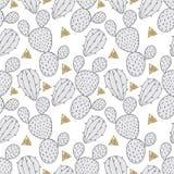 Cactus naadloos patroon, vectorillustratie voor stof Getrokken hand vector illustratie