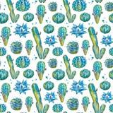 Cactus naadloos patroon in waterverfstijl Stock Foto