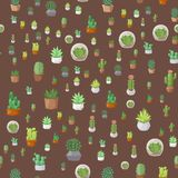 Cactus nature desert flower green mexican succulent tropical plant seamless pattern cacti floral illustration. Cactus flat style nature desert flower green Royalty Free Stock Images