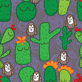 Cactus owl bird cute seamless pattern. Illustration owl bird cactus cute green purple decor color seamless pattern cartoon graphic texture Stock Photography