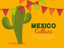 Cactus and party banner to celebrate event. Vector illustration royalty free illustration