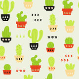 Cactus Pattern / Seamless Background with Cactus and Succulent royalty free illustration