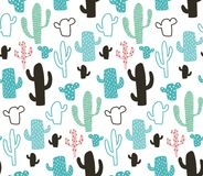Cactus pattern. Vector seamless pattern, cute cactus on white background Royalty Free Illustration