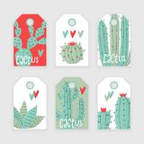 Cactus plant. Vector stipple concept with hearts Royalty Free Stock Photo