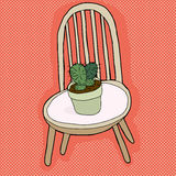 Cactus Plant on Chair Royalty Free Stock Photos