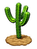Cactus. Plant on a desert sand floor isolated on a white background as a three dimensional,symbol of hot dry weather and arid habitat found in southwest parts Stock Images