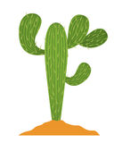 Cactus plant with earth design Royalty Free Stock Photo