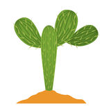 Cactus plant with earth design Royalty Free Stock Images