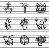 Cactus plant logo, ornamental plants, leaves in packs, which are made with thick lines, with various colors, and doodle styles, wh royalty free illustration