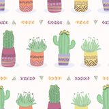 Cactus in plant pot seamless pattern. Indoor succulent houseplant stock illustration