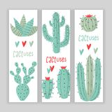 Cactus plant. Stipple concept with hearts Stock Photography